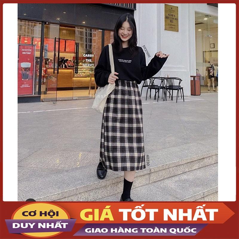 Chân Váy Dạ Midi Caro, Chun Eo Co Dãn Hàng Loại 1 M967-Violet_Store
