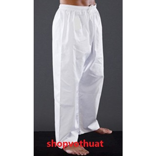 Quần Karate trắng vải kaki – quần taekwondo trắng vải kaki đủ size 1m06 đến 1m79