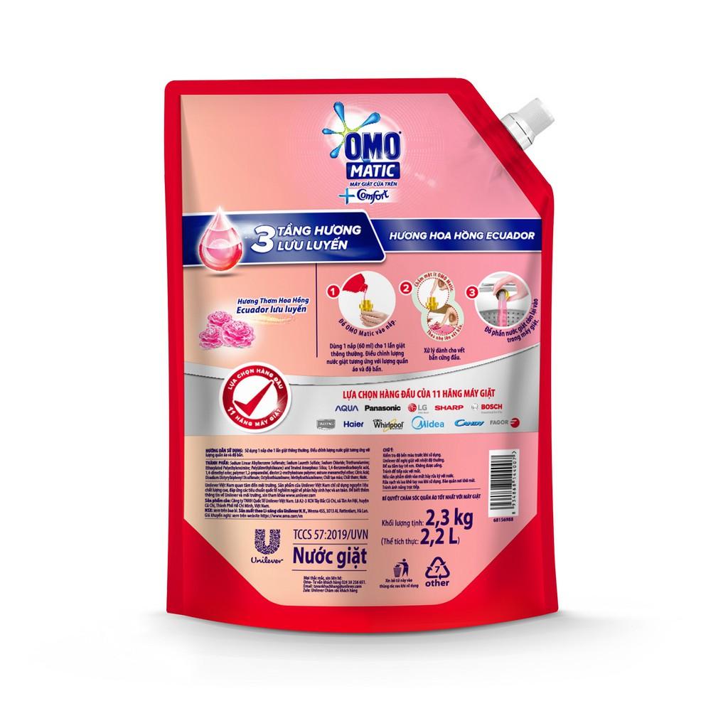 Nước giặt OMO Matic Comfort Hương Hoa Hồng túi 2.3KG (MỚI)