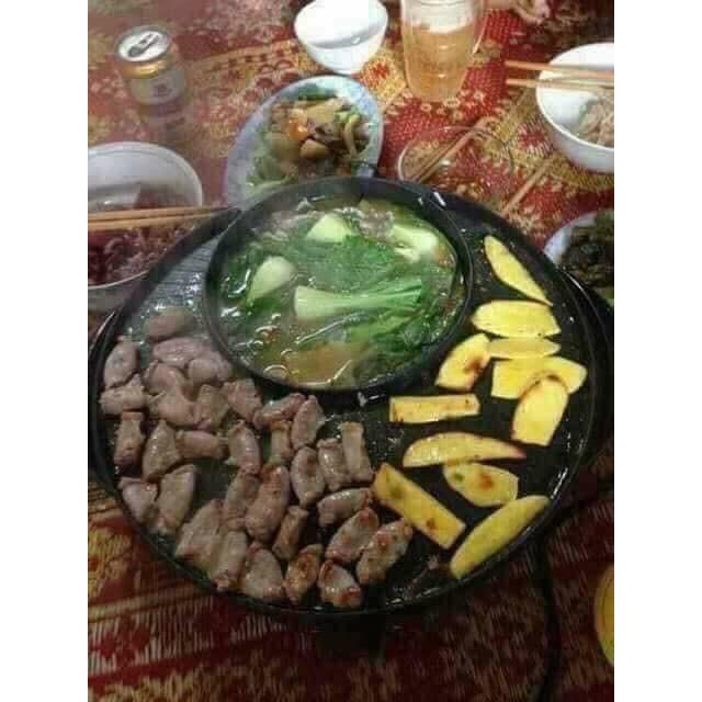 Nồi Lẩu Điện Bếp Nướng Đa Năng Mini 2 In 1 - Vừa Nấu Lẩu Vừa Nướng