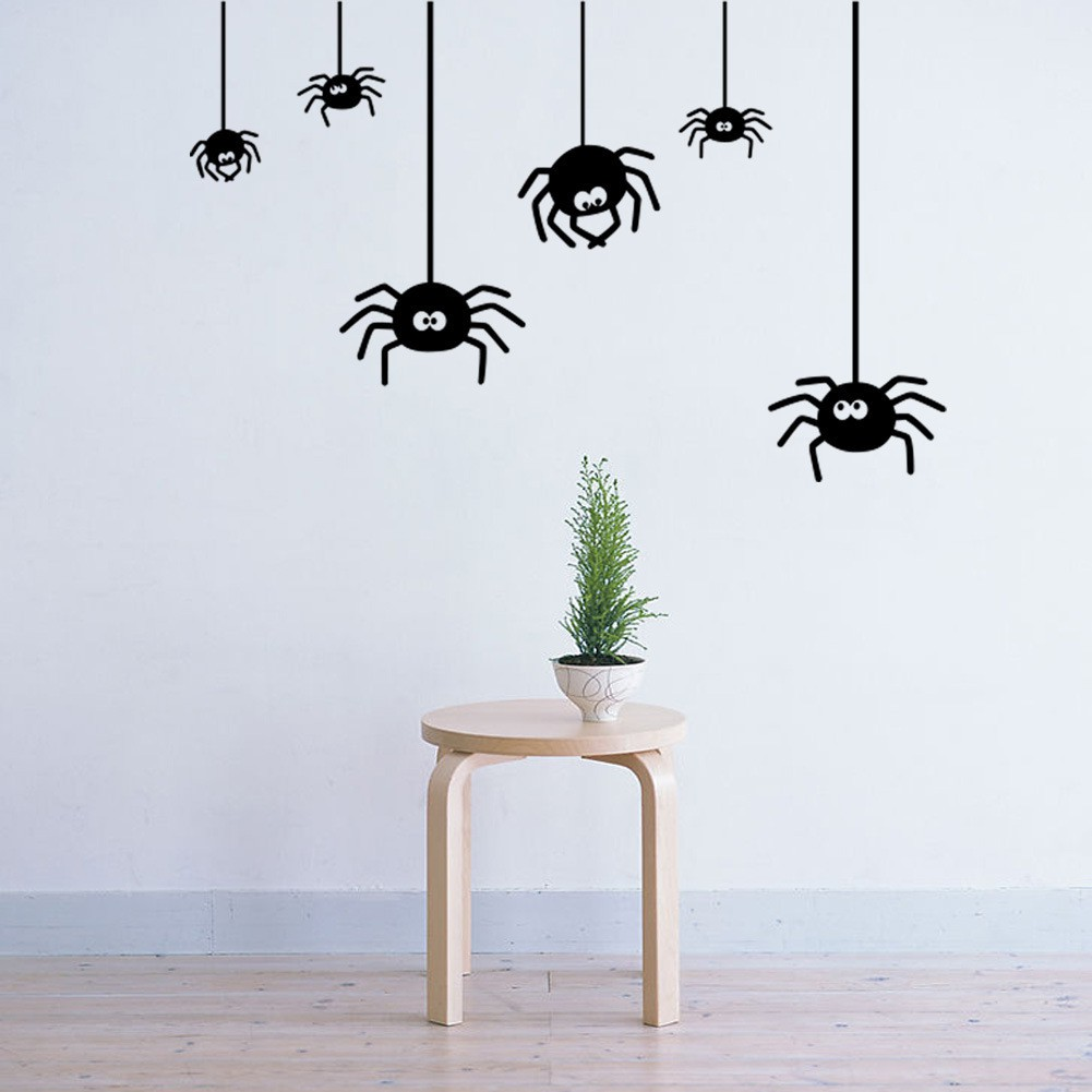Halloween Hanging Spider Wall Sticker Home Window Decal DIY Mural PVC Decoration