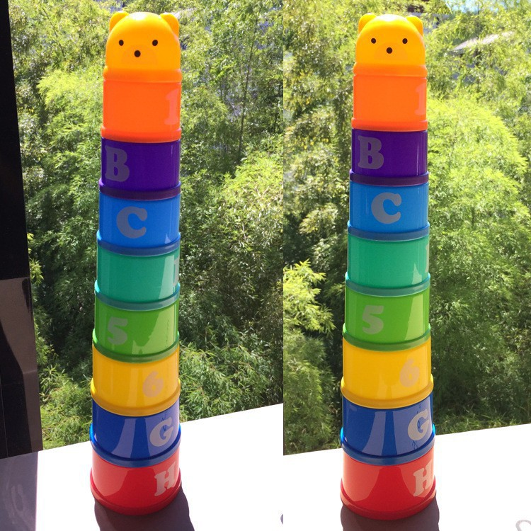 Children Funny Rainbow Stack Cup Kids Development Educational Toy