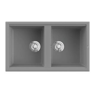 Chậu rửa bát KONOX Granite Series Phoenix 860 Grey, Made in Italy, Full set gồm Siphon + Giá úp bát inox