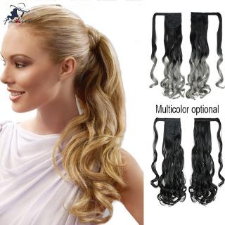 FF Hook-and-loop Clip-on Style Ponytail Hair Extension Wig Heat Resistant Fiber Curly Long Hairpiece