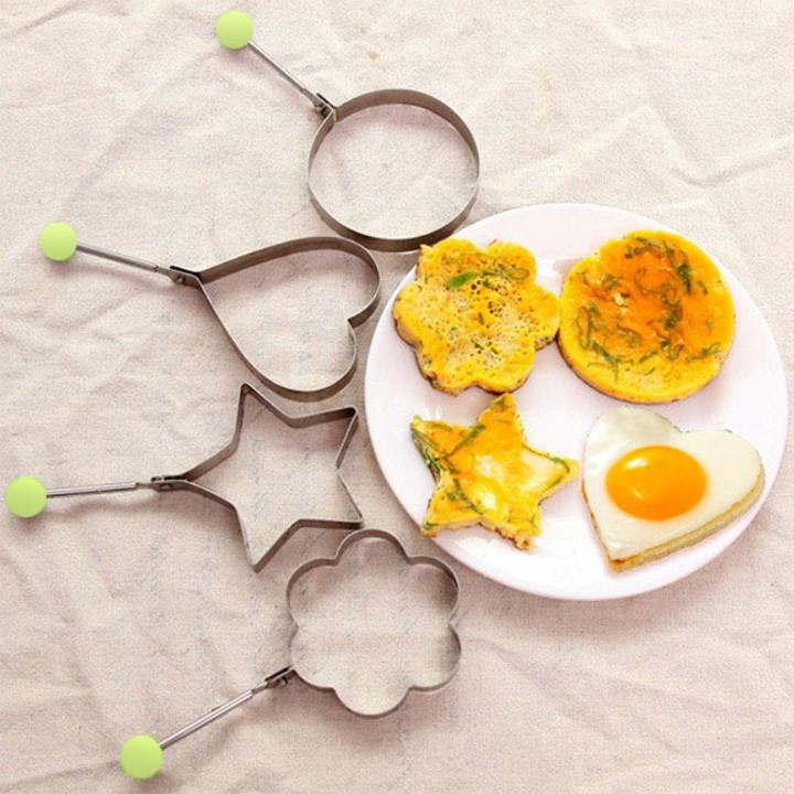 Khuôn rán trứng làm bánh tạo hình trứng cho bé hình sao trái tim trẻ em