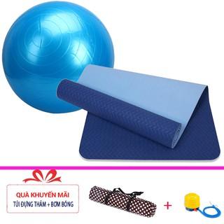 Combo thảm tập yoga TPE 6mm 2 lớp + Bóng tập yoga da trơn cao cấp