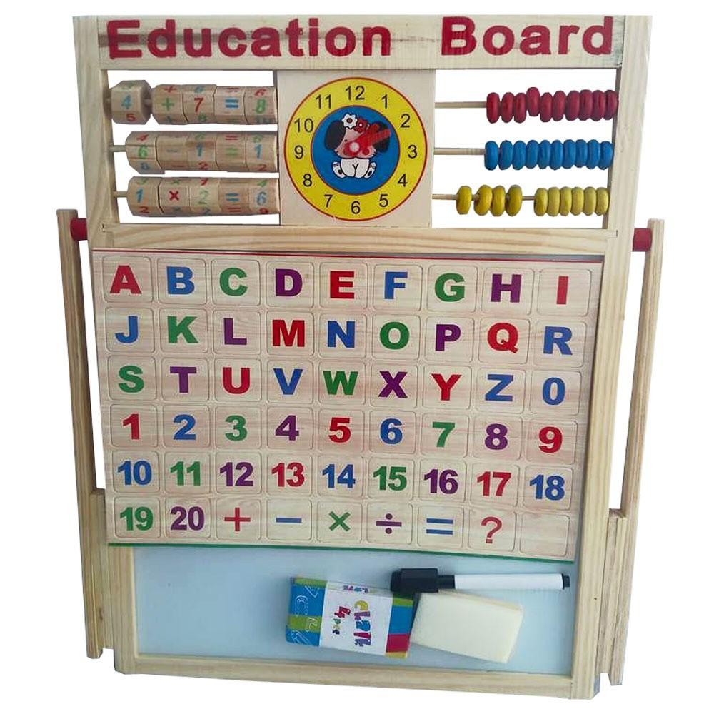 [SALE SẬP SÀN] Bảng từ 2 mặt education Board và bộ số kèm bảng gỗ có núm phương tiện |...