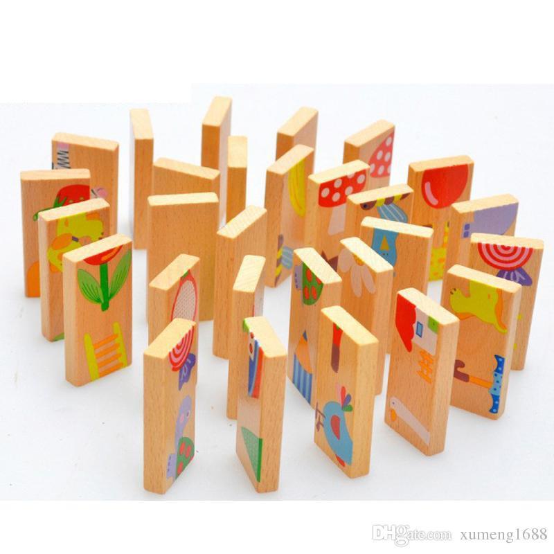 Bộ đồ chơi Domino Minibe bằng gỗ 28 chi tiết - Xếp hình trí tuệ cho bé (MS47) DC-DOMINO-47