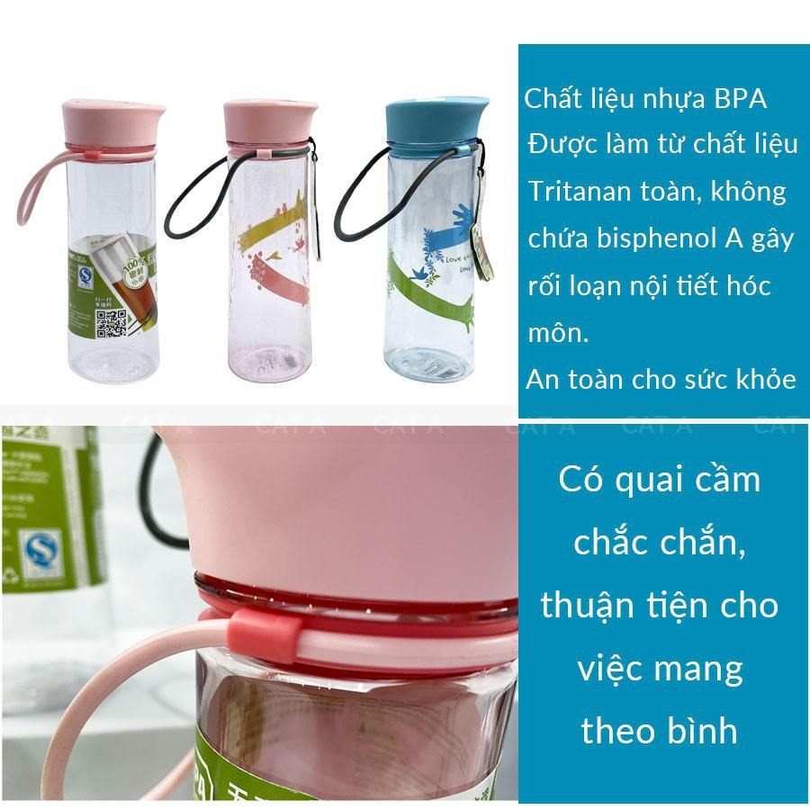 [470ml - 1521] BÌNH ĐỰNG NƯỚC FREE MIGO, BÌNH NƯỚC BẰNG NHỰA  BPA  Cao cấp  - An toàn, trong suốt, có rây lọc, quai xách