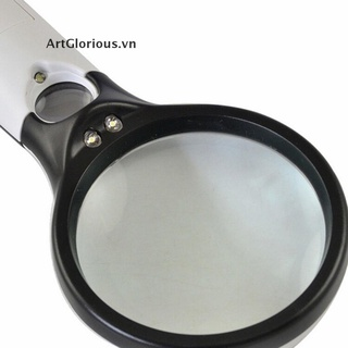 【ArtGlorious】 Handheld 45X Magnifying Reading Glass Lens Jewelry Loupe With 3 LED Light 【VN】