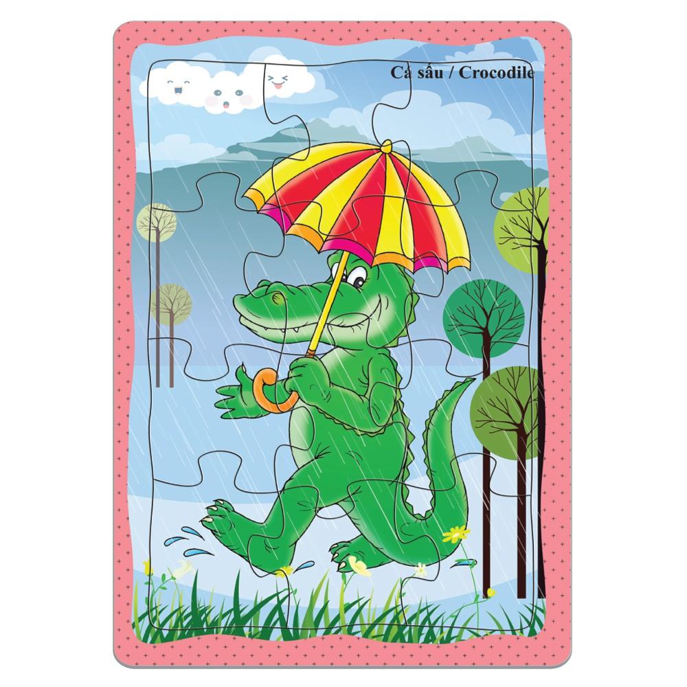 Tranh xếp hình giấy 12 miếng (Dập từ khổ A5) - Đồ chơi trí tuệ dành cho bé trên 3 tuổi