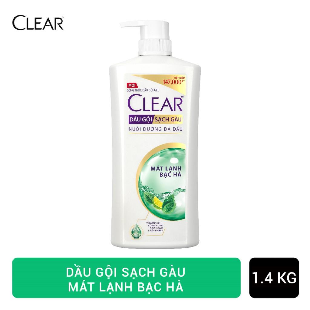 Dầu gội sạch gàu Clear mát lạnh bạc hà 1.4kg