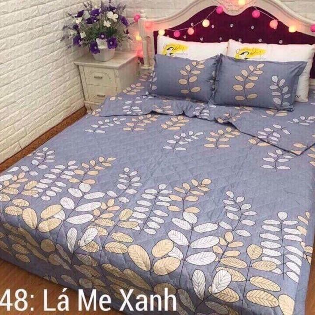 Bộ ga poly mẫu lá me xanh màu ghi xám 1m2 cho giường đơn chất poly cotton hàng chuẩn không phai khôn