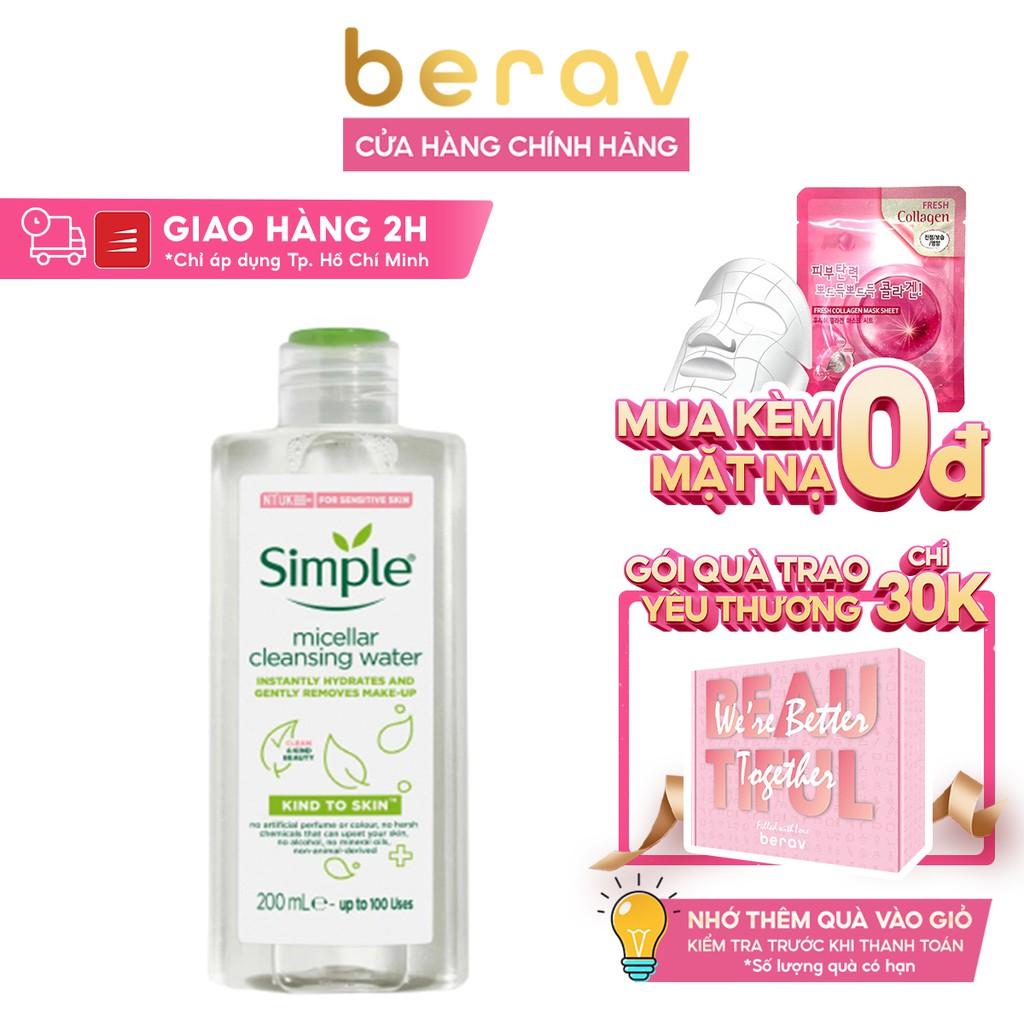 Nước Tẩy Trang Simple Dịu Nhẹ Cho Da Nhạy Cảm Kind To Skin Micellar Water 200ml