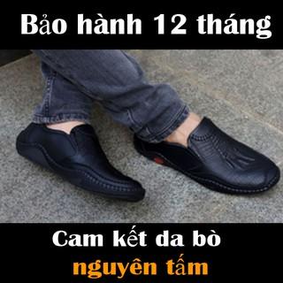 giày mọi lười nam da bò dập vân cá sấu đế cao su khâu phối quần jean phong cách, chống hôi chân, êm chân SHOES 2H – 77