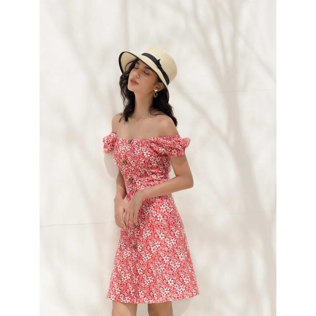 Đầm Họa Tiết Hoa Đỏ - YV LE & CO