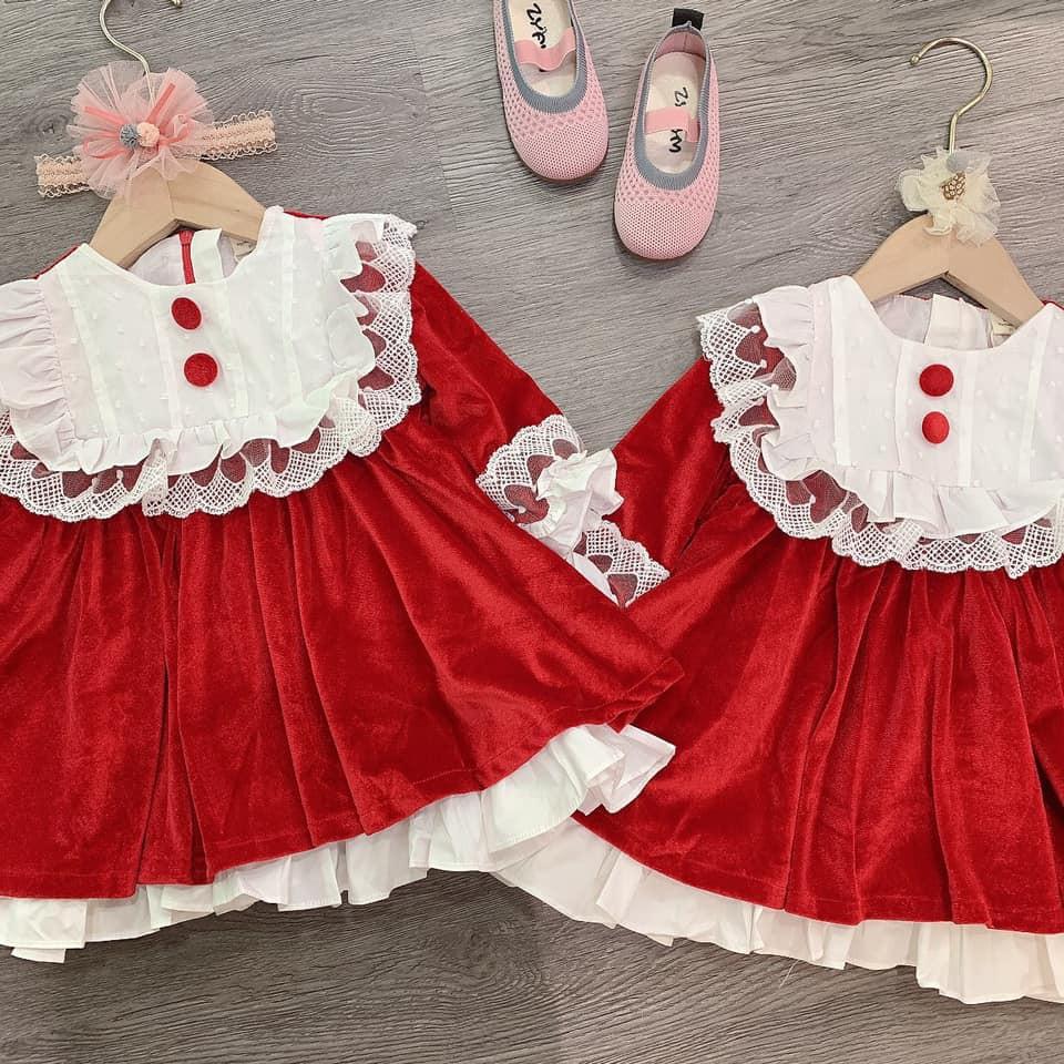 váy nhung đỏ cổ trắng cho bé gái
