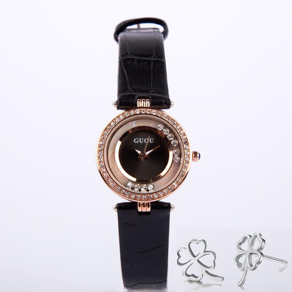 (ẢNH THẬT) Đồng hồ nữ Guou B07 viền đá mặt tròn dây da cao cấp chống nước 3ATM + Tặng cặp bông tai c