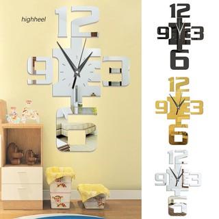 Đồng hồ tráng gương dán tường họa tiết con số Ả Rập