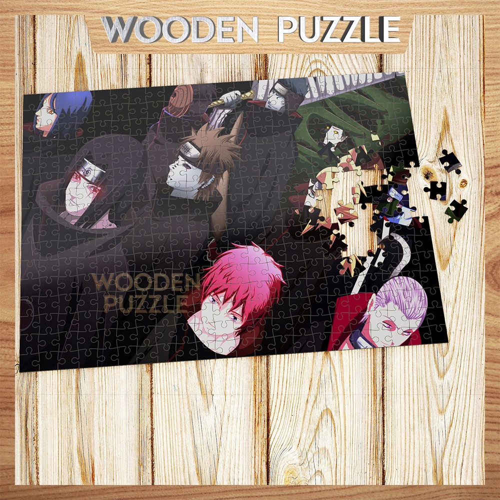 [MADE IN VIET NAM] Tranh xếp hình gỗ naruto akatsuki 300 – 500 mảnh ghép,bộ ghép hình,bộ xếp hình WP193