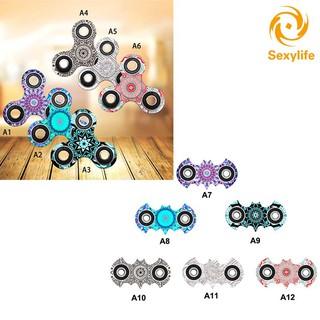 SL♣ Tri-Spinner Fidget Toys Plastic Mandala Pattern EDC Hand Fidget Spinner For Autism ADHD Kids/Adu