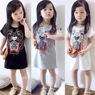 Đầm thun ngắn tay in họa tiết hoạt hình cho bé gái