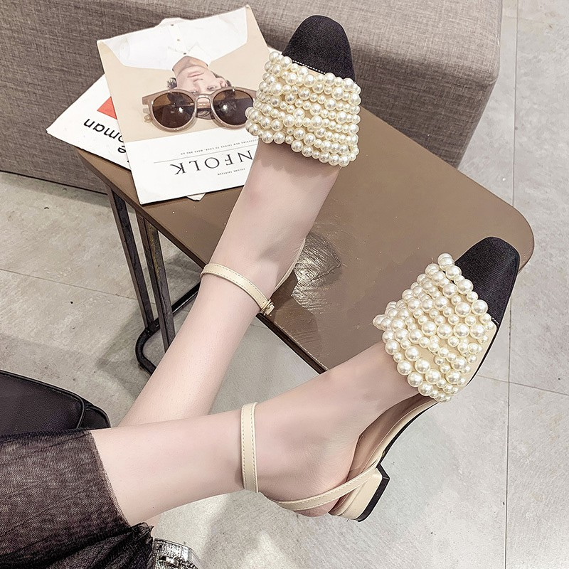 r new Baotou pearl word buckle with fairy shoes thick with wild Roman shoes tide