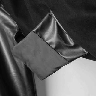 Hình ảnh Áo khoác Bomber nam họa tiết trơn Felt And Leather chất ép từ Len giữ nhiệt và thoáng - FEAER DENIM-7