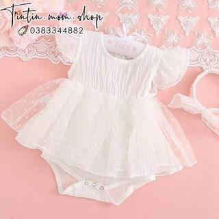 Sét Váy Body Cánh Tiên Cộc Tay Đầy Tháng/ Thôi Nôi Cho Bé Gái (Kèm Turban)