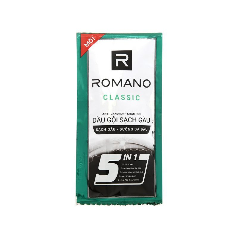 Dầu gội sạch gàu Romano Classic 5 in 1 - 5g x 10 gói