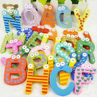 ♞26 Alphabet Magnetic Letters Wooden English Fridge Magnets Baby Education Toys