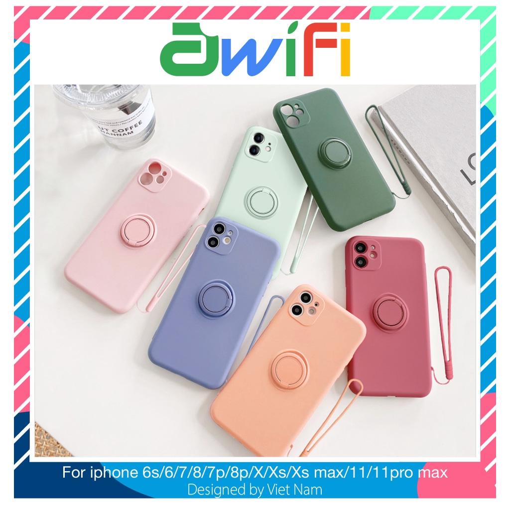 Ốp iphone - Ốp lưng chống bẩn kèm ring và dây 6/6s/6plus/6splus/7/8/7plus/8plus/x/xs/xsmax/11/11pro max-Awifi Case V1-5