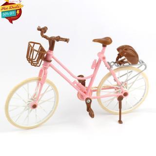 Pink Bicycle Play House Toy Detachable Bike + Basket + Brown Helmet Kids Toys dolls Accessories