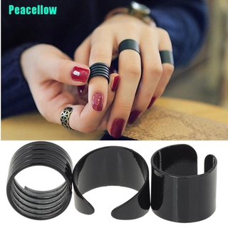 Peacellow 3PCS Ring Set Black Stack Plain Above Knuckle Ring Open Band Midi Rings