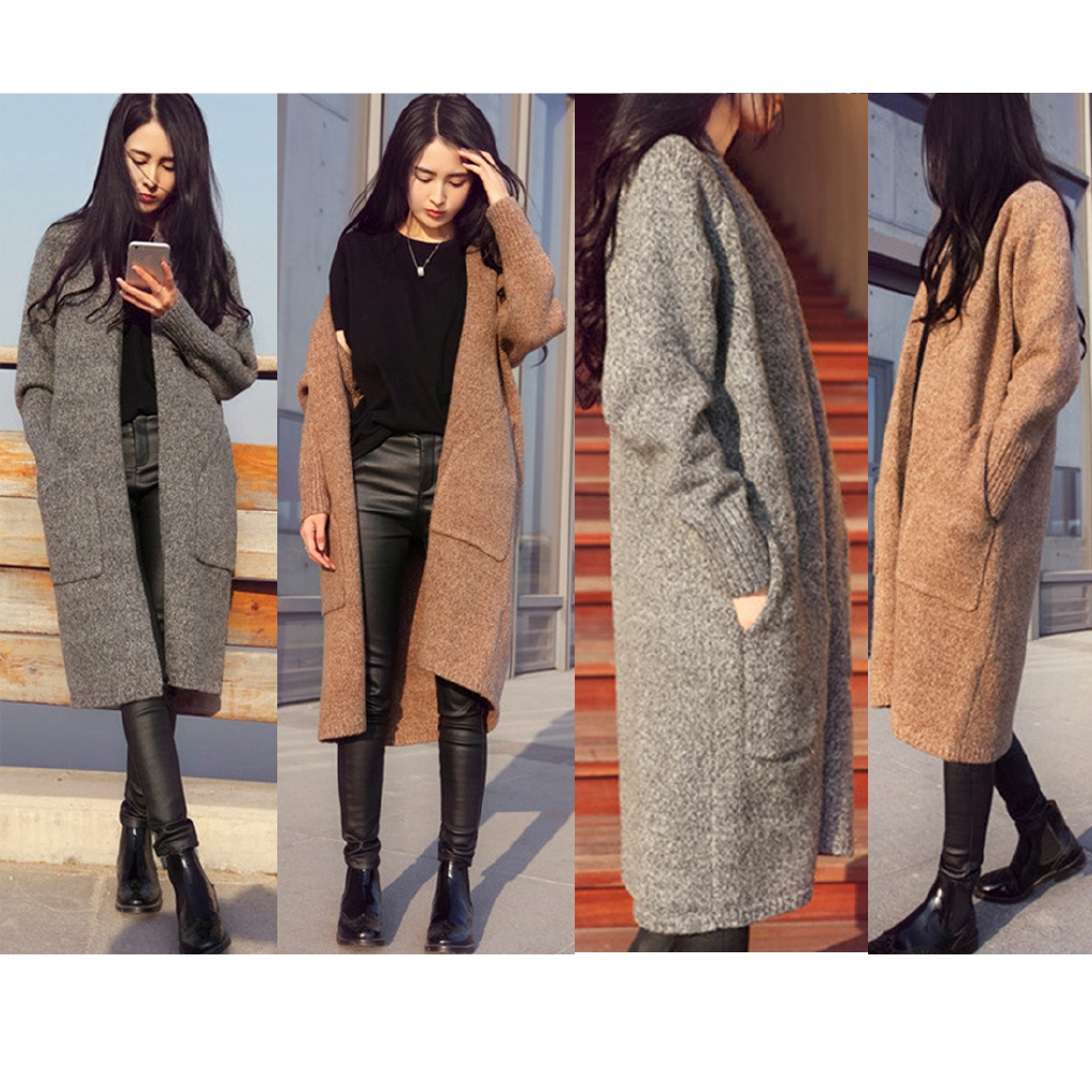 New fashion Spring Autumn Winter Single Breasted Cashmere Knitted Long Cardigans Sweaters Coat for Women