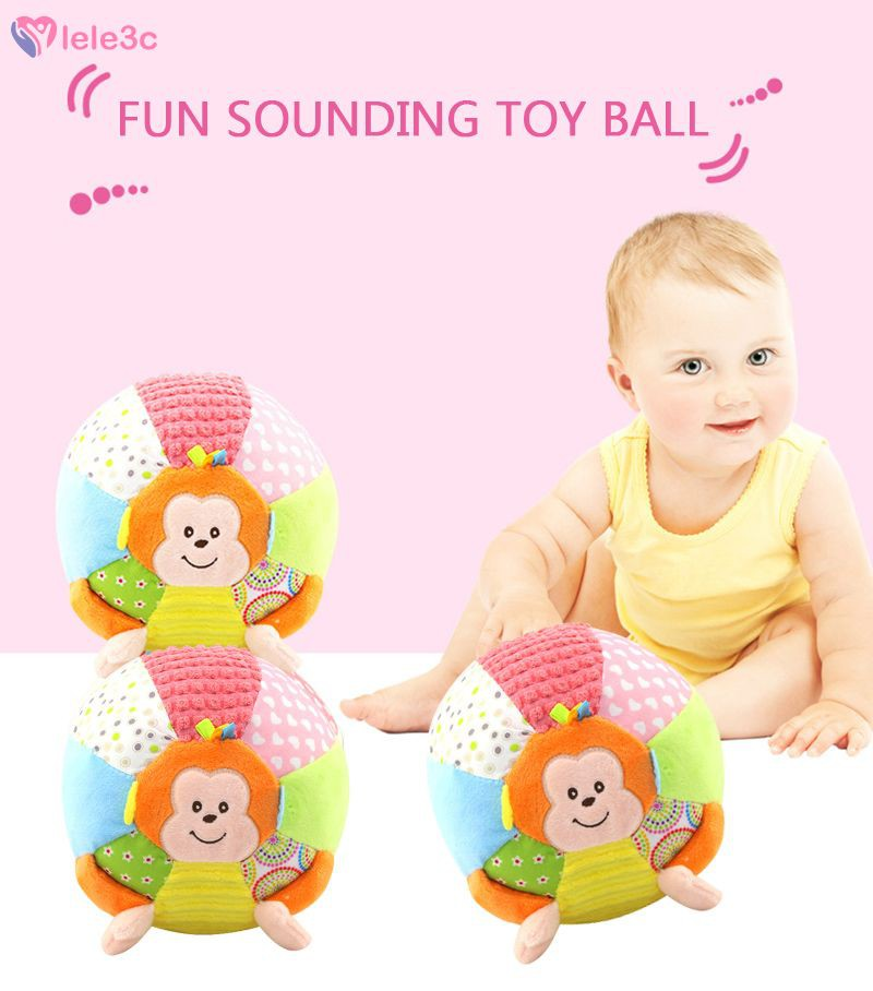 LE Baby Toys For Children Animal Ball Soft Plush Mobile Toy With Sound Baby Rattle Infant Body Building Ball Toy For Baby lele