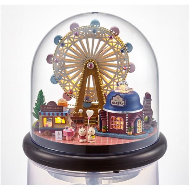 Mô hình nhà búp bê trong lồng chụp mica – Công viên vui chơi Happy Ferris Wheel