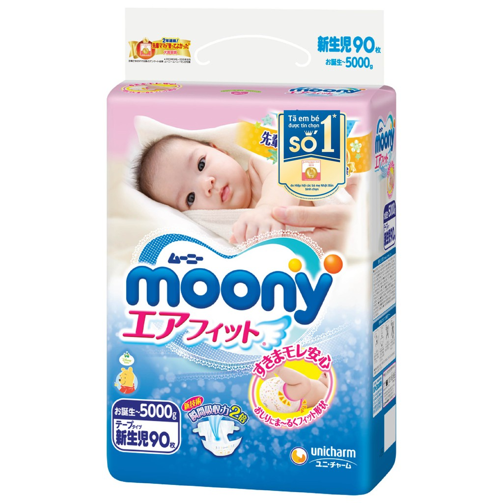 Bỉm Moony dán/quần các size (NB90,S84,M64,M58,L54,L44,