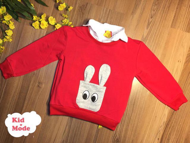 Đánh giá sản phẩm  Mẫu áo nỉ cho bé trai, bé gái họa tiết tai thỏ đáng yêu, chất da cá mềm mịn, áo diện tết tặng bé - KIDMODE của khanbonghoanghai2708