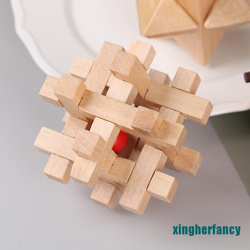 XYCC IQ Brain Teaser Kong Ming Lock 3D Wooden Interlocking Burr Puzzles Game Toy XJSS