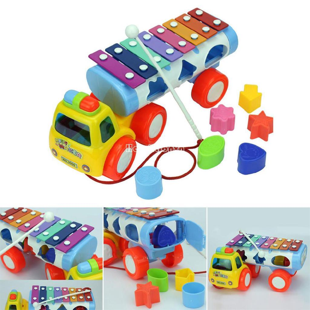❤COD Kids Cute Hand knock Piano Pull Musical Instrument Toys