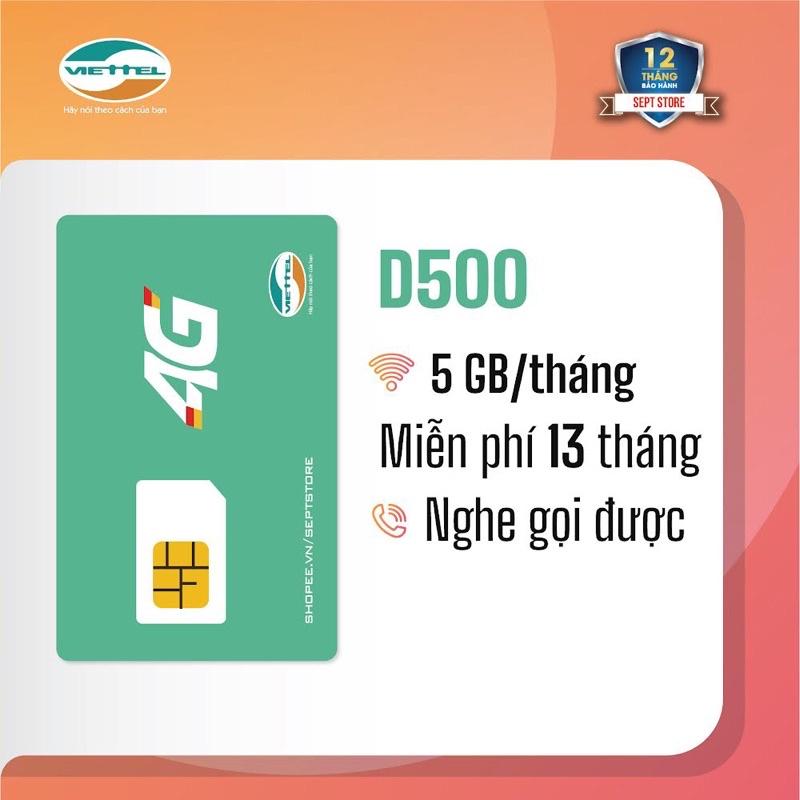 [FREESHIP 50K] Sim 4G Viettel D500 D900 - Miễn phí 12 tháng không nạp tiền