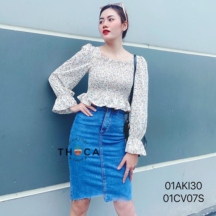 Chân váy jeans lệch lai 2 nút THOCA HOUSE màu xanh, đen hiện đại, cá tính dễ phối trang phục đi chơi, đi học, đi làm