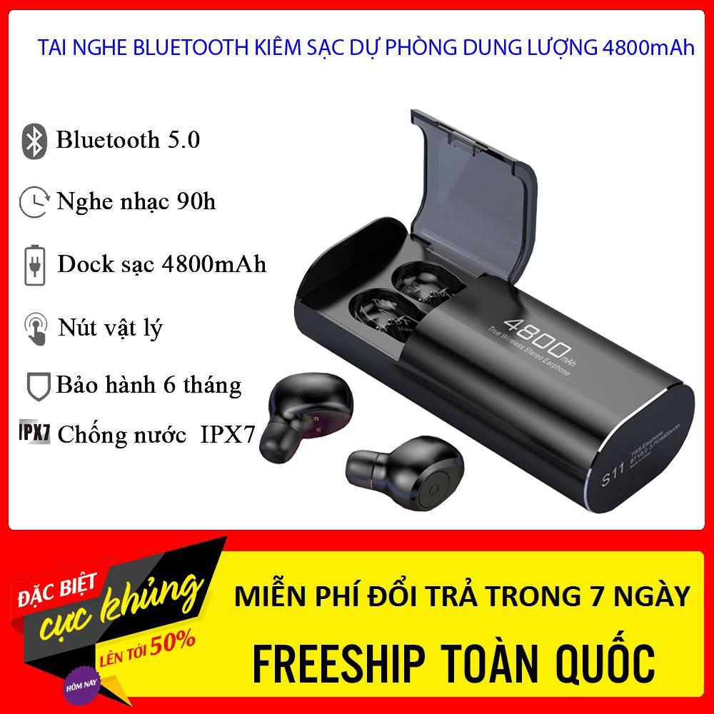 Tai nghe Bluetooth Đen 5.0 S11 TWS Kiêm Sạc Dự Phòng 4800mAh - Chống nước IPX7 - Nghe nhạc lên đến 90h