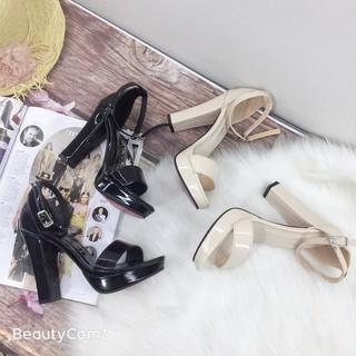 Giày Sandal Nữ, Giày Sandal Cao Gót Quai Ngang Cao 11-12Cm Hậu Búp Bê Chất Da Bóng Sang Chảnh Màu Đen Hàng Có Bảo Hànhh