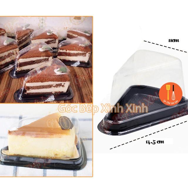 10 hộp bánh nhựa tam giác đế đen 14cm A03