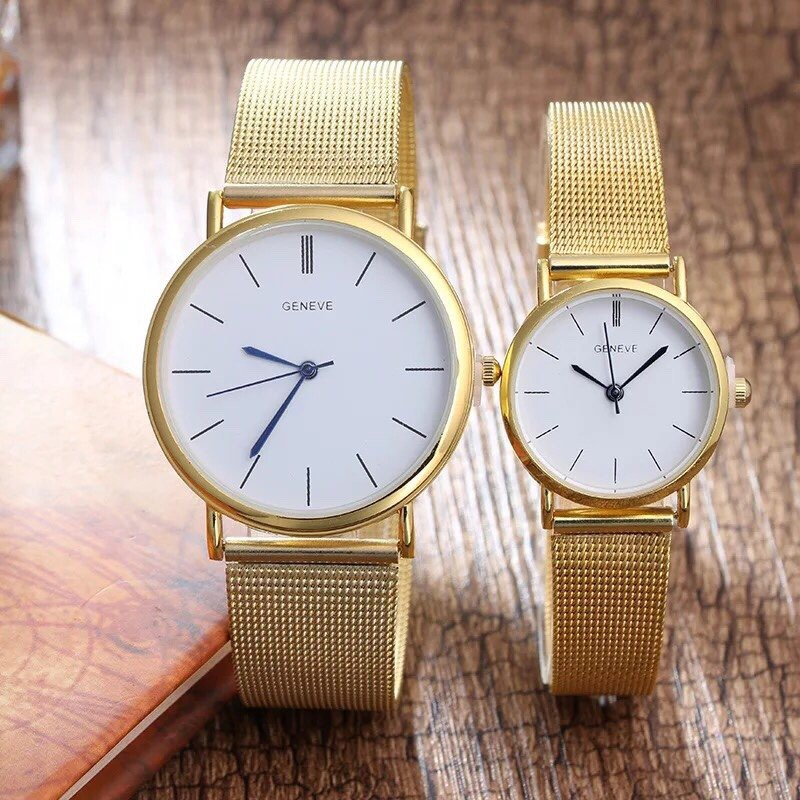 Đồng hồ cặp thời trang nam nữ Geneve dây lưới SCS79