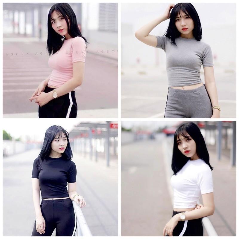 Mặc gì đẹp: Gợi cảm với Áo croptop nữ ôm body tay ngắn Madela, Croptop Nữ trơn ngắn tay cổ tròn, Áo crt nữ siêu ôm dáng- ACTN03