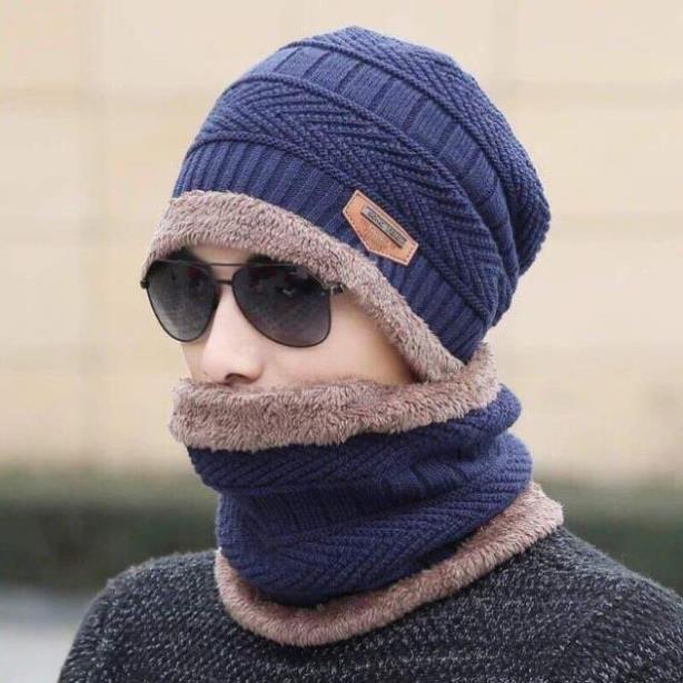[XẢ KHO+FREE SHIP] Mũ len kèm khăn cho nam và nữ