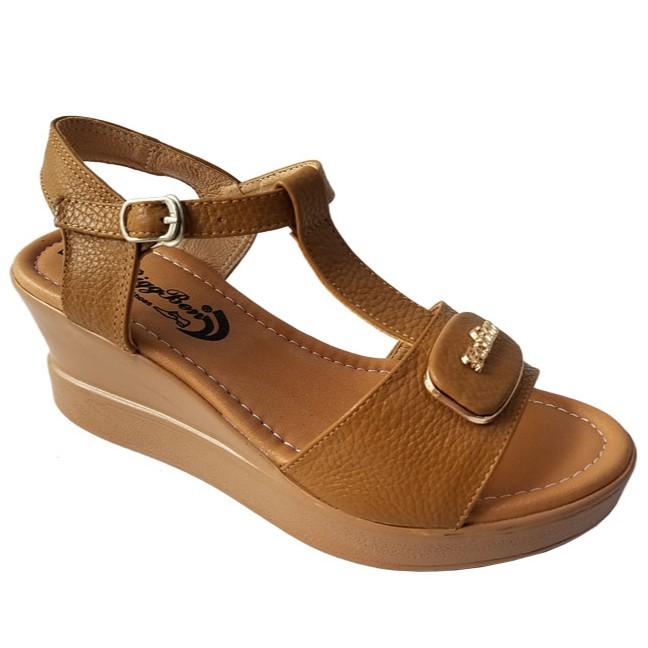 Giày Sandal Nữ Đế Xuồng Da Bò BIGGBEN HKD217